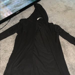 black long sleeve coverup with hood